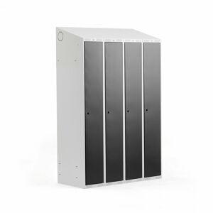 Šatní skříňka Classic, šikmá střecha, 4 sekce, Š 1200 mm, šedá, černé dveře