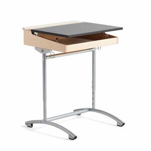 Výškově nastavitelná školní lavice, 650x550x700-900 mm, bříza, tm. šedé linoleum