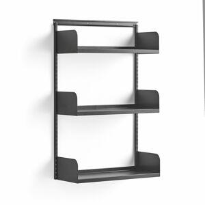 Nástěnný regál Shape, plechové police, 1237x800x300 mm, tmavě šedý