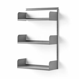 Nástěnný regál Shape, přídavná sekce, plechové police, 1237x800x300 mm, stříbrný