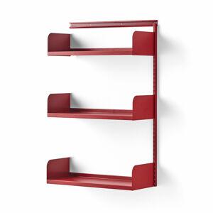 Nástěnný regál Shape, přídavná sekce, plechové police, 1237x800x300 mm, červený
