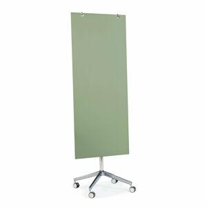 Skleněná magnetická tabule, pojízdná, pastelově zelená