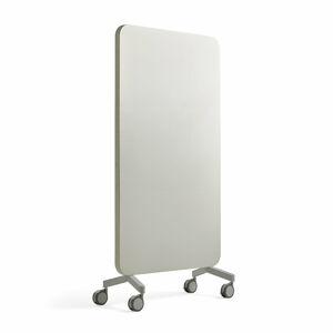 Skleněná tabule s akustickým panelem, pojízdná, 1000x1960 mm, světle šedá