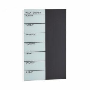 Skleněná plánovací tabule, týdenní, 400x600 mm, černá/bílá