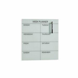 Skleněná plánovací tabule, týdenní, 450x450 mm, bílá
