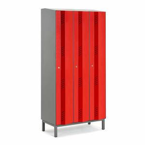 Šatní skříň Create Energy, 3 sekce, 1985x900x500mm, červené dveře, vč. noh