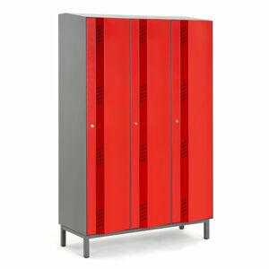 Šatní skříň Create Energy, 3 sekce, 1985x1200x500mm, červené dveře, vč. noh