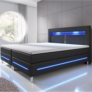 Pružinová postel Norfolk 180 x 200 cm černá - LED pásy a pružinové jádro matrace