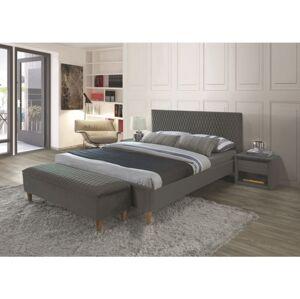 Čalouněná postel AZURRO VELVET 140 x 200 cm barva šedá / dub