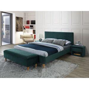 Čalouněná postel AZURRO VELVET 140 x 200 cm barva zelená / dub