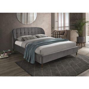 Čalouněná postel LIGURIA VELVET 160 x 200 cm barva šedá / hnědá