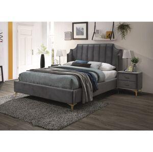 Čalouněná postel MONAKO VELVET 160 x 200 cm barva šedá / zlatá