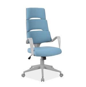 Kancelářská židle Q-889 modrý materiál/sivý rám