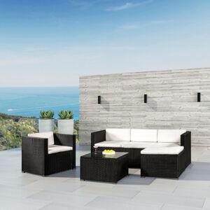 "Polyratanový zahradní nábytek ,,Punta Cana L"" černá s krémovými polštáři"