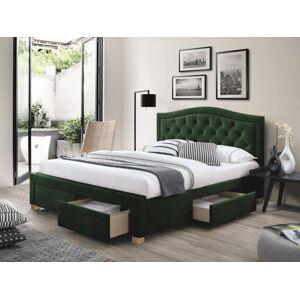Čalouněná postel ELECTRA VELVET 160 x 200 cm barva zelená / dub