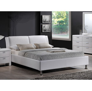 Čalouněná postel MITO 140 x 200 cm bílá / chromová